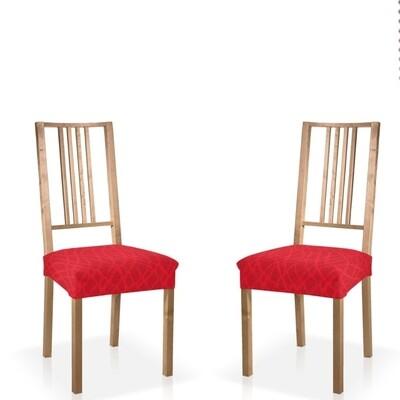 Σετ 2 τεμ. Κάλυμμα Κάθισμα Καρέκλας Ελαστικό Waves Κόκκινο - Mc Decor