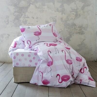 Κουβερλί Μονό Satin Cotton Flamingo Love - Nima Home