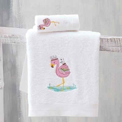 Σετ Πετσέτες 2 τεμ. Κέντημα Flamingo - Rythmos
