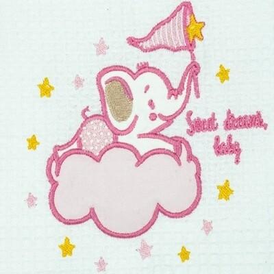 Κουβέρτα Πικέ Κούνιας  Elephant White-Pink - Adam Home