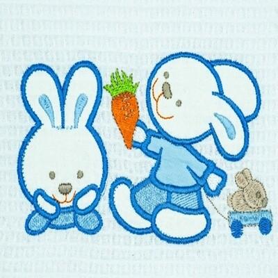 Κουβέρτα Πικέ Λίκνου Bunnies White-Blue - Adam Home