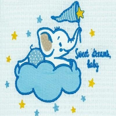 Κουβέρτα Πικέ Λίκνου Elephant White-Blue - Adam Home