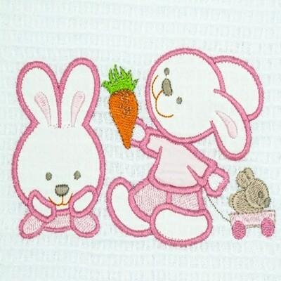 Κουβέρτα Πικέ Λίκνου Bunnies White-Pink - Adam Home