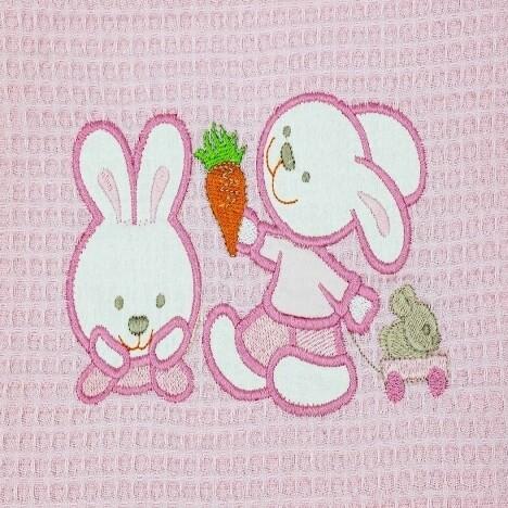 Κουβέρτα Πικέ Λίκνου Bunnies Pink - Adam Home