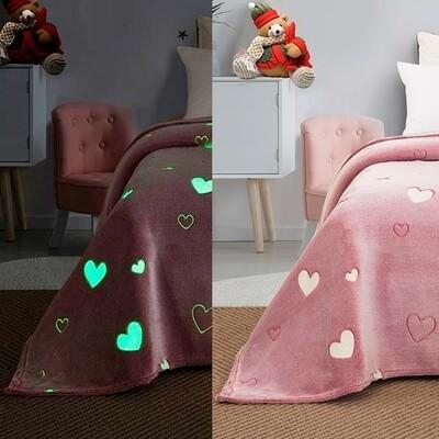 Κουβέρτα Φωσφοριζέ Βελουτέ Fleece Μονή 01 Hearts - Sunshine