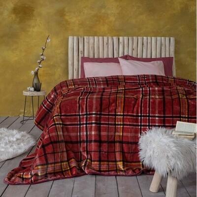 Κουβέρτα Βελουτέ Μονή Kester Wine Red - Nima Home