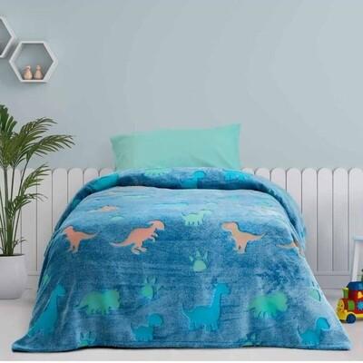 Κουβέρτα Φωσφοριζέ Μονή Fleece Shiny Dinos - Kocoon