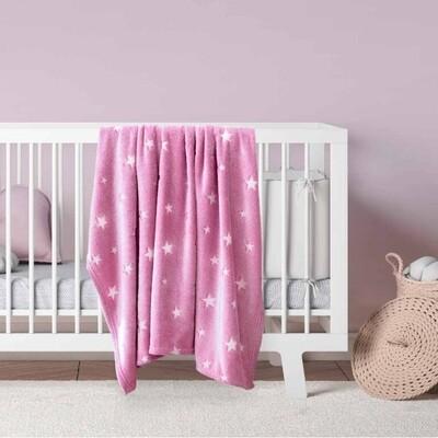 Κουβέρτα Φωσφοριζέ Κούνιας Fleece Glow Star Pink - Kocoon
