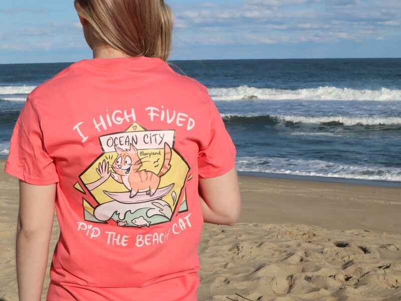 SALE I High-Fived Pip The Beach Cat T-Shirt (Coral)