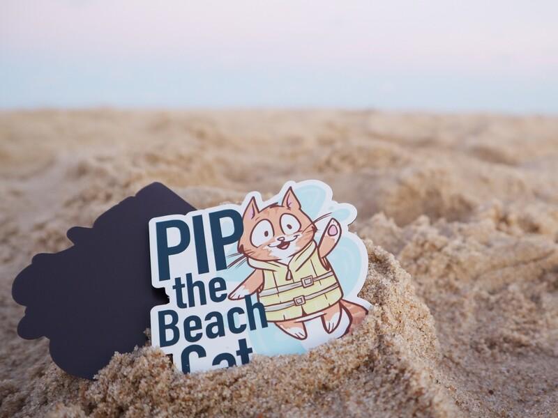 Pip the Beach Cat in Life Vest Flat Magnet
