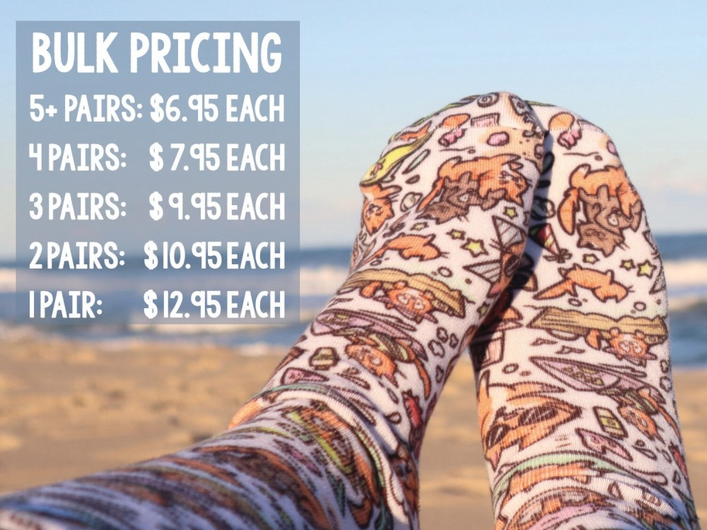 Pip The Beach Cat Socks: Bulk Pricing Available