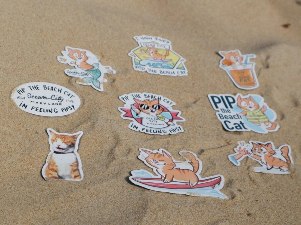 Pip the Beach Cat Flat Magnets