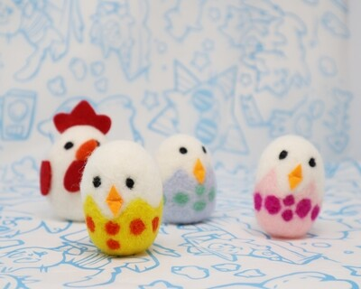 Chick and Chicken Wool Toys