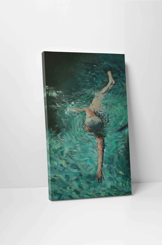 Pool Swimmer   Original Oil Painting