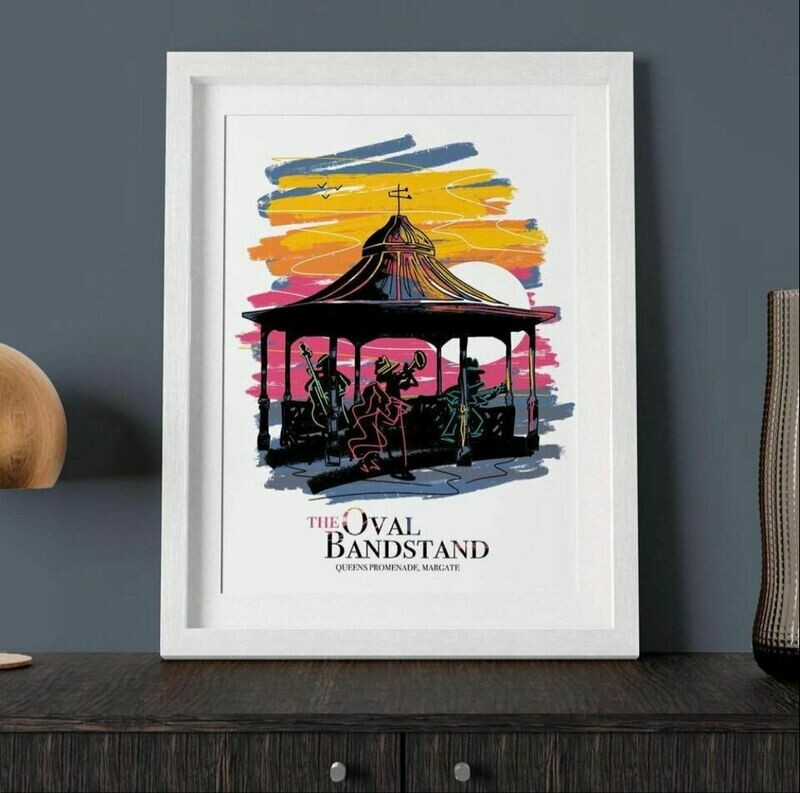 The Oval Bandstand signed Print A3 Michael Goodson