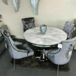 Allure Grey Marble Chrome Round Dining Table Belle Plush Velvet Chairs