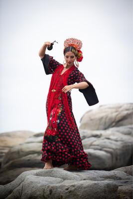Vestido Modelo Moreneta negro lunar rojo, aplicaciones flores bordadas, talla 42.