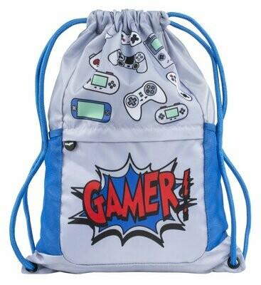 Mesh  Pocket Drawstring Bag - Gamer Grey