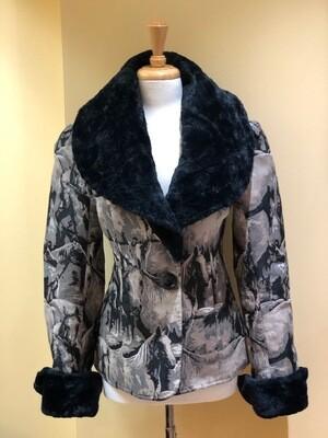Horse Design Jacket with Faux Fur Chinchilla Collar + Cuffs