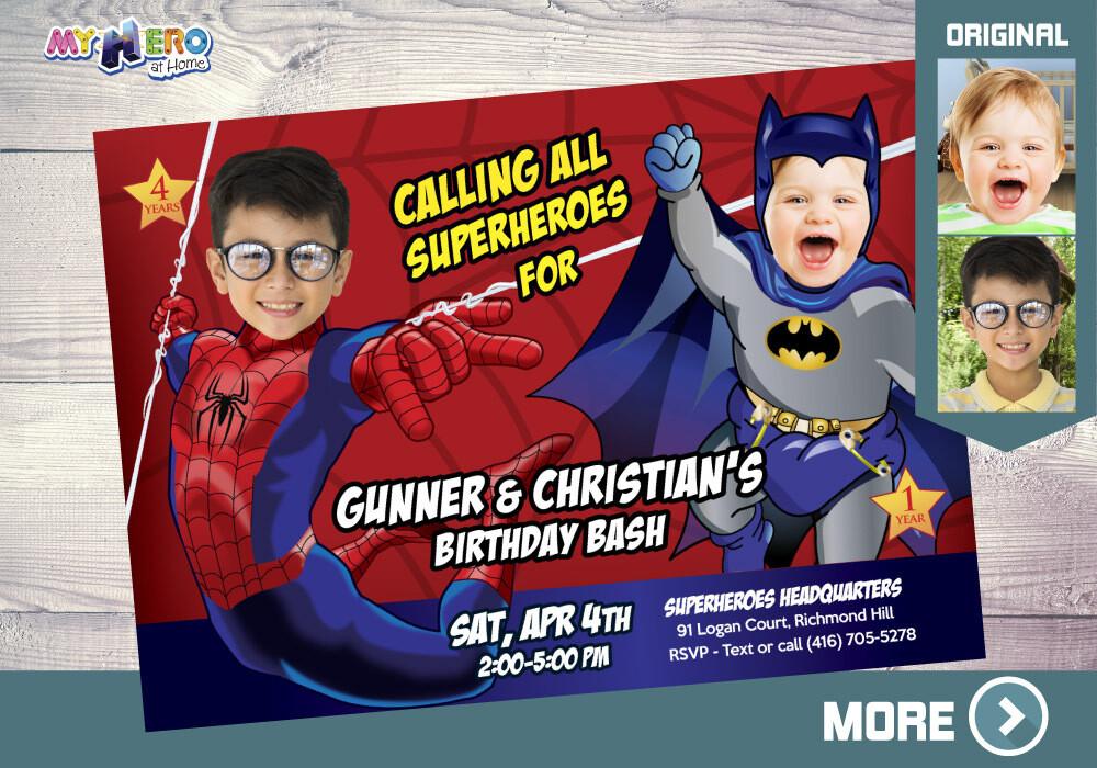batman and spiderman invitation siblings superheroes birthday invitation joint superheroes party spiderman and batman party 107