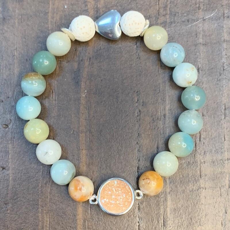 Amber Druzy & Amazonite Beads Bracelet
