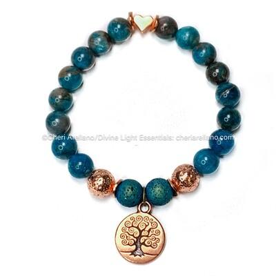 Apatite Bracelet: Tree of Life & Heart