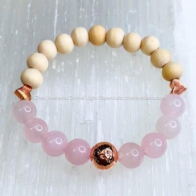 Rose Quartz Crystal & Wooden Beaded Bracelet