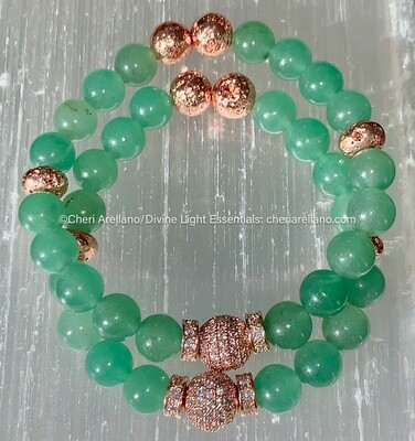 Green Aventurine & Rose Gold Bracelet