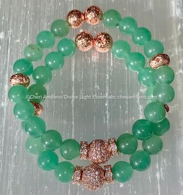 Green Aventurine & Rose Gold Bracelet
