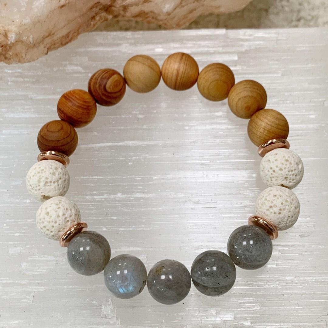 Labradorite, Sandalwood & Lava Beaded Bracelet