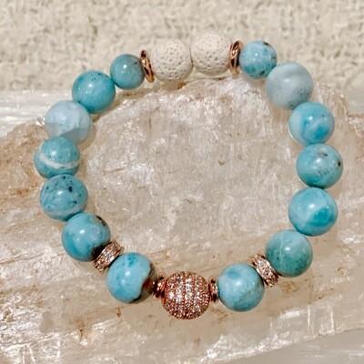 Larimar & Rhinestone Bracelet