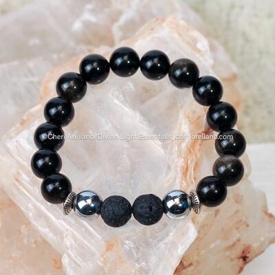 Gold-sheen Black Obsidian Protection Bracelet