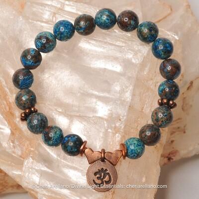 Crazy Lace Blue Agate: Copper Om
