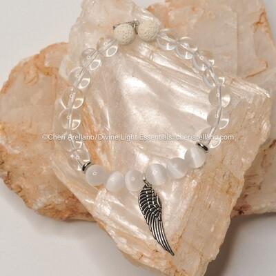 Clear Quartz & Selenite Angel Wing Bracelet