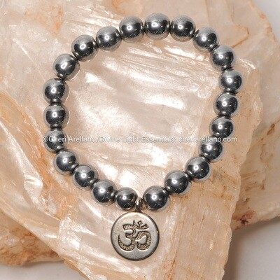 Hematite Om Protection Bracelet