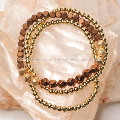 Copper Sacred Geometry & Gold Stack Bracelet Set