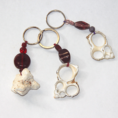 Coral and shell key ring