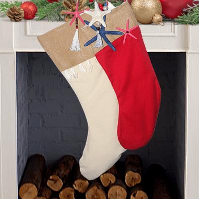 Christmas Stocking with sea shells/sea star