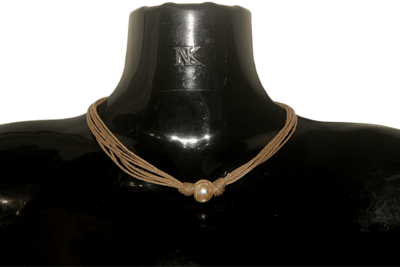 Pearl beaded jute necklace
