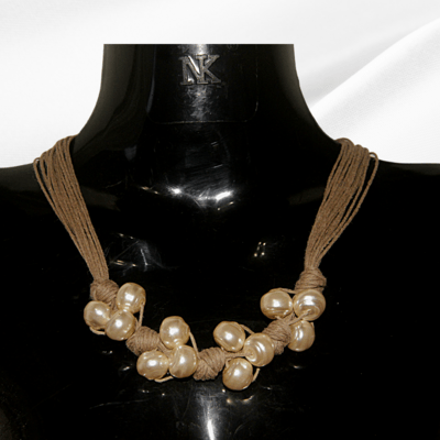 Pearl jute knotted necklace