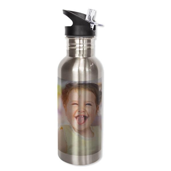 Drikkeflaske med sugerør stål