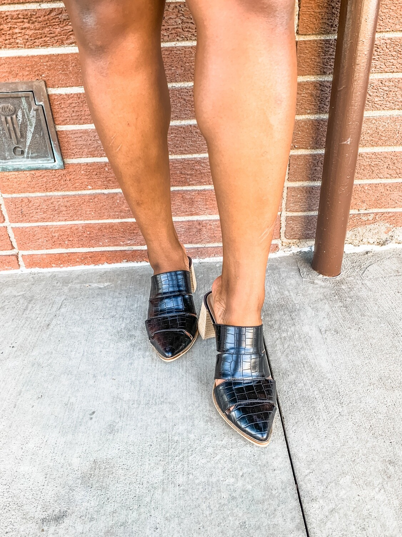 Croco Heeled Mules - Black