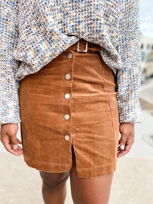 Corduroy Buckle Skirt