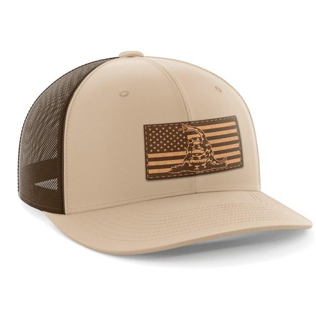 One Legging it Around got Paradactylum? Leather Light Brown Patch Engraved Trucker Hat