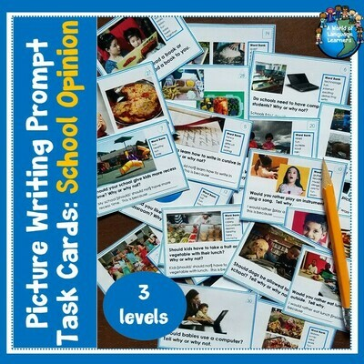 School PIcture Writing Task Cards Opinion