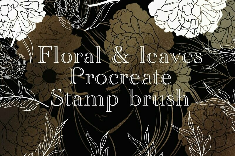 Floral & leave procreate stamp brush