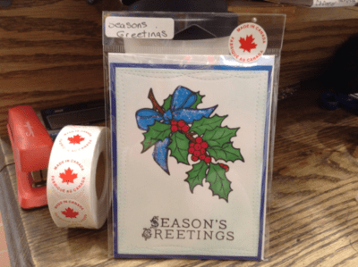Seasons Greetings Holly Holiday Card/ Christmas Card / Friendship/ Winter Greeting/ Holly Berry Sprig