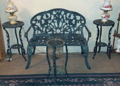 vintage 4 piece cast iron patio set green with roses love seat 2 stands candle