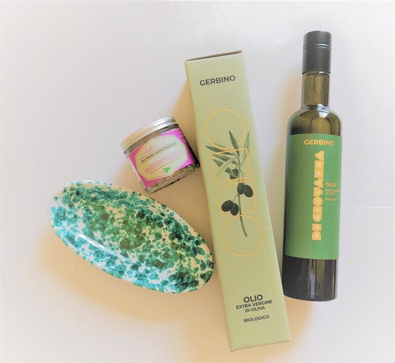 'Made in Sicily' Confezione regalo olio d'oliva con piatto di ceramica e sale marino