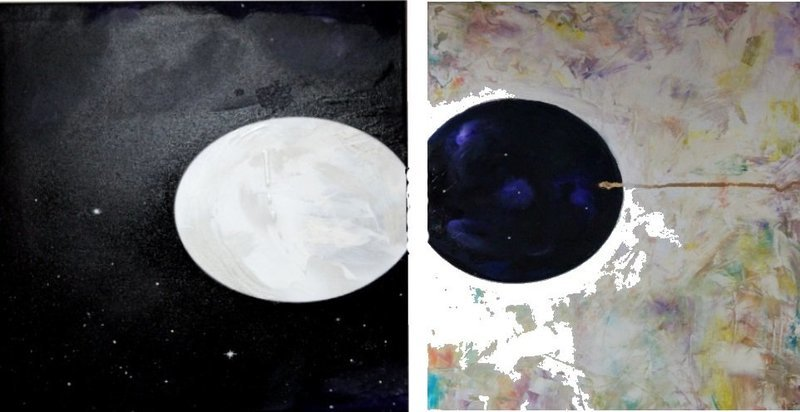 NOT BLACK AND WHITE two canvases